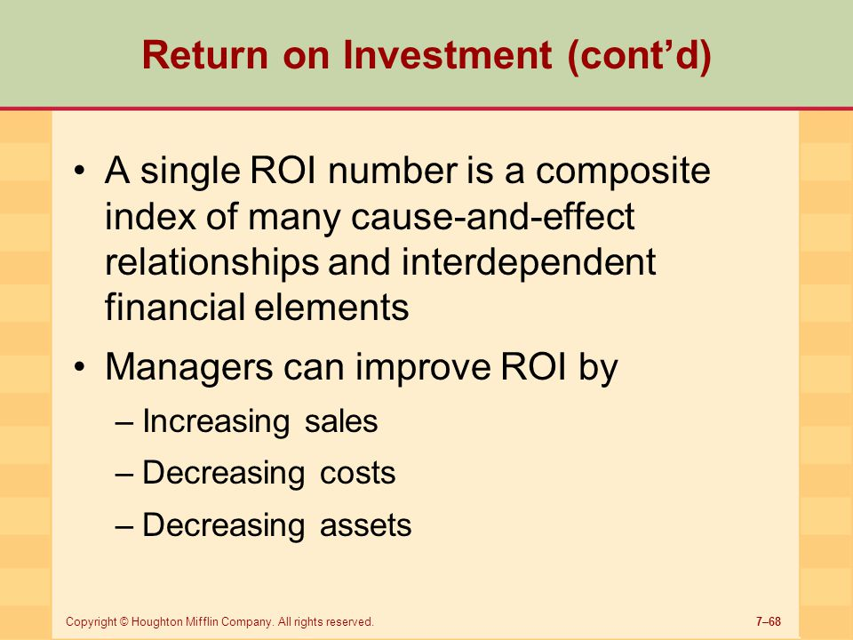 Return on Investment (cont'd)