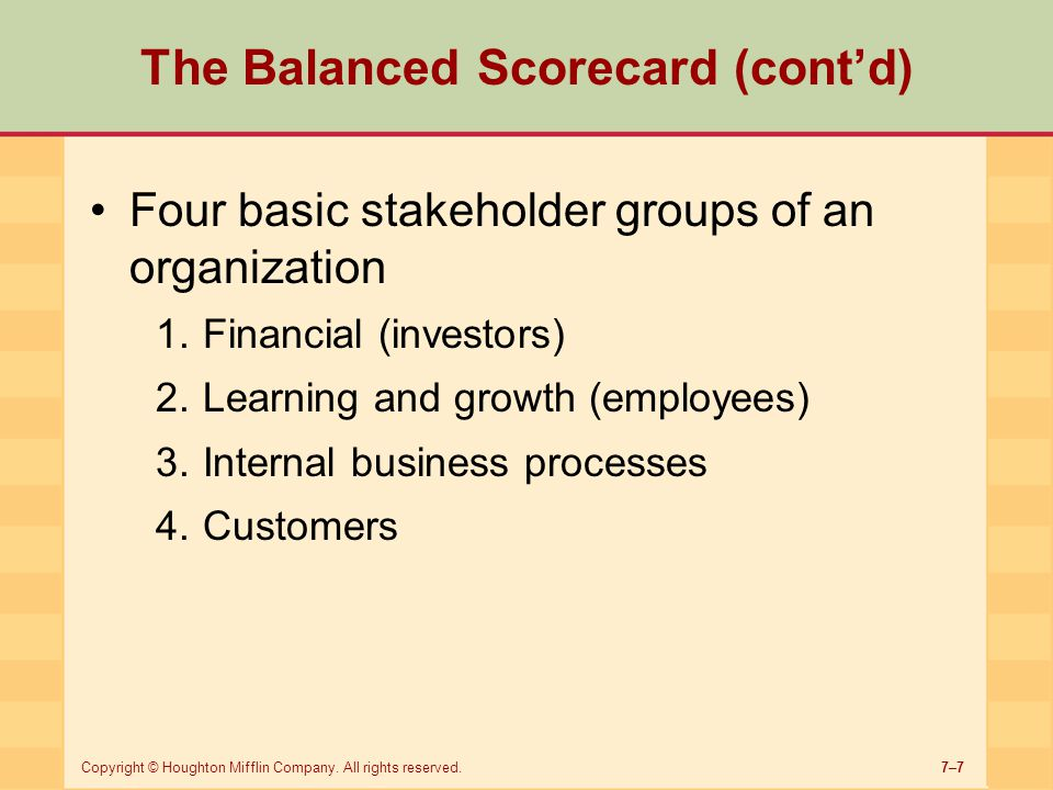The Balanced Scorecard (cont'd)