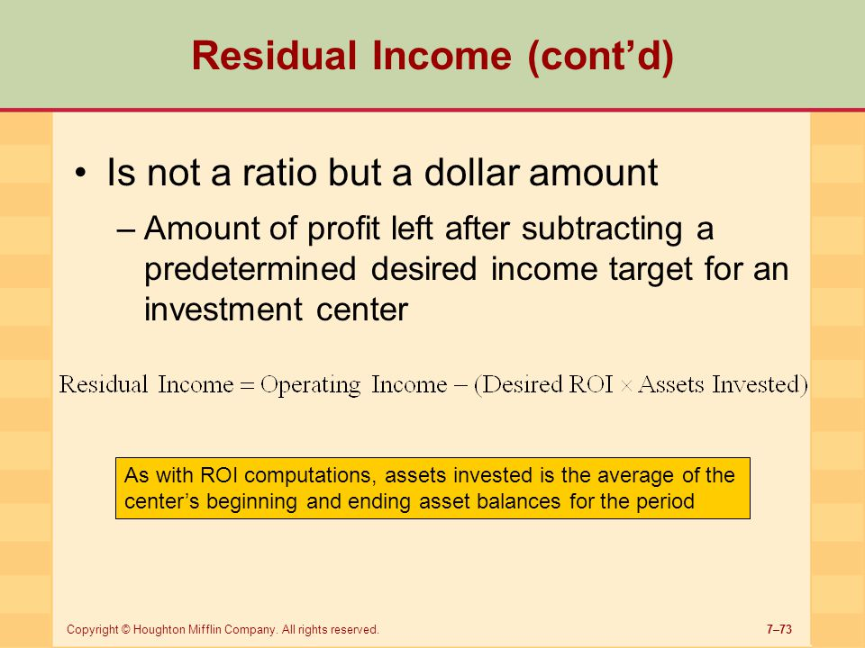Residual Income (cont'd)