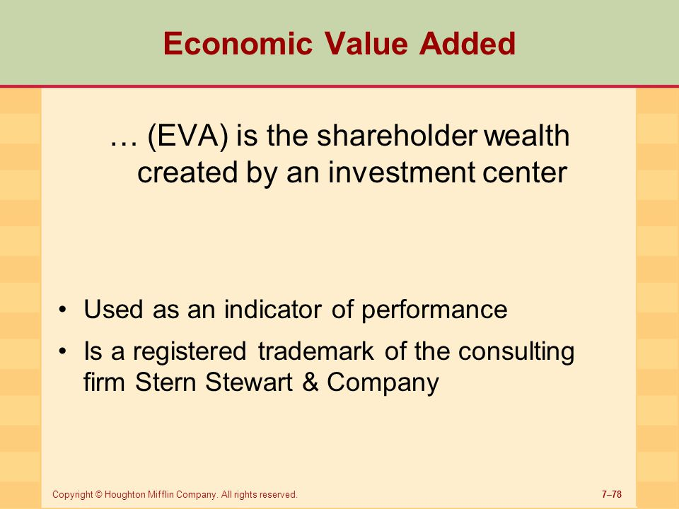 … (EVA) is the shareholder wealth created by an investment center