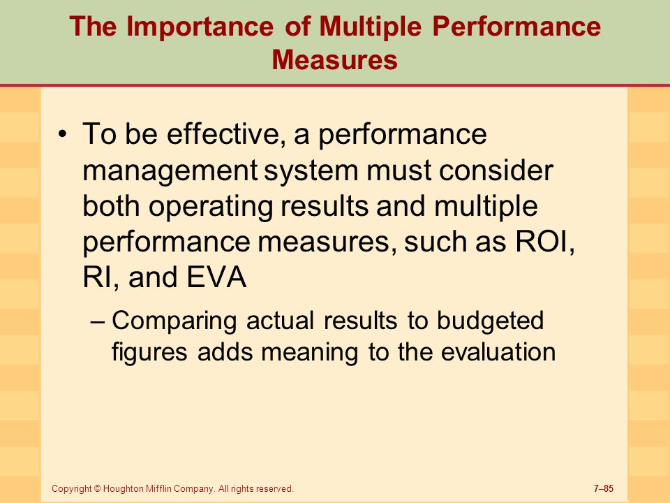 The Importance of Multiple Performance Measures