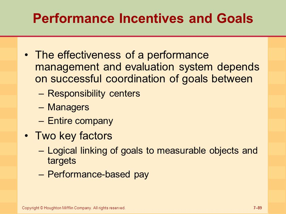Performance Incentives and Goals