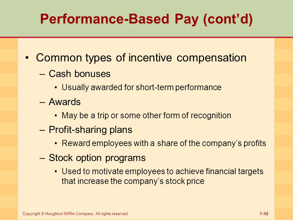 Performance-Based Pay (cont'd)