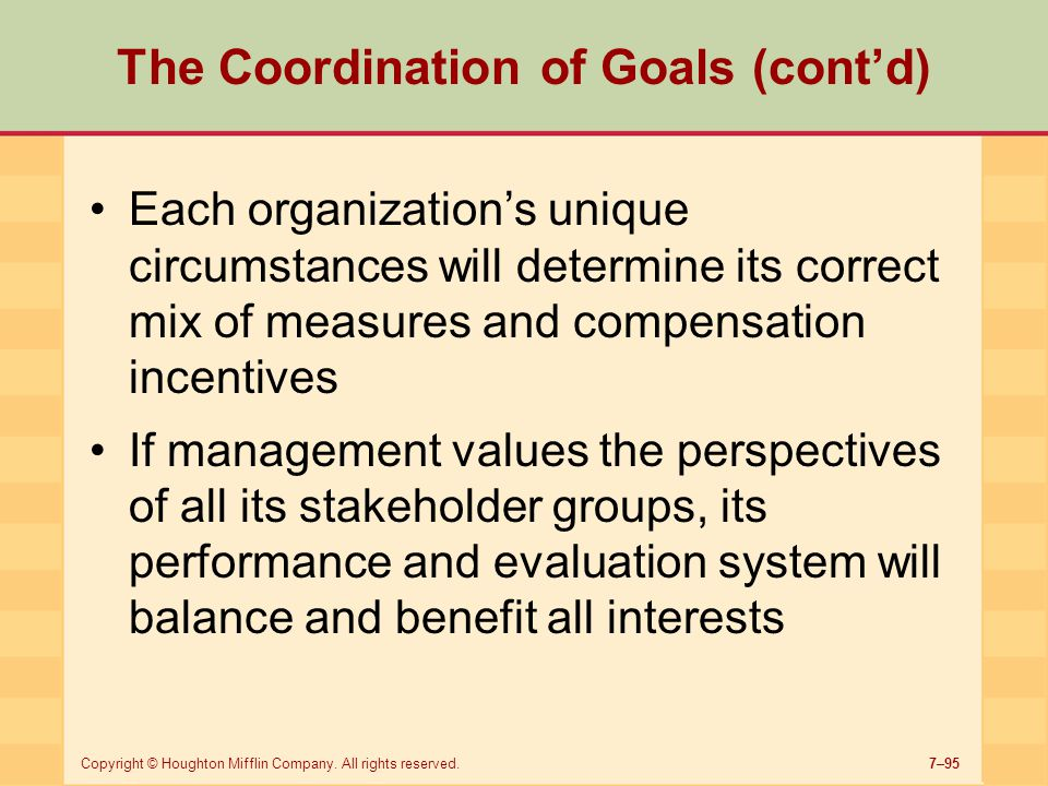 The Coordination of Goals (cont'd)