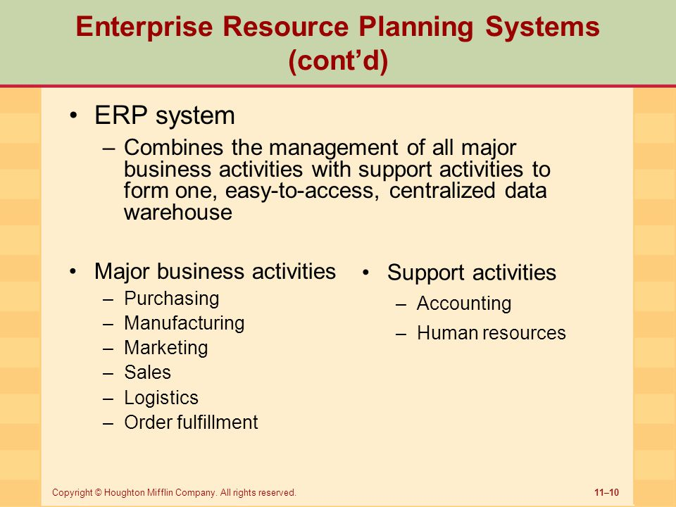 Enterprise Resource Planning Systems (cont'd)