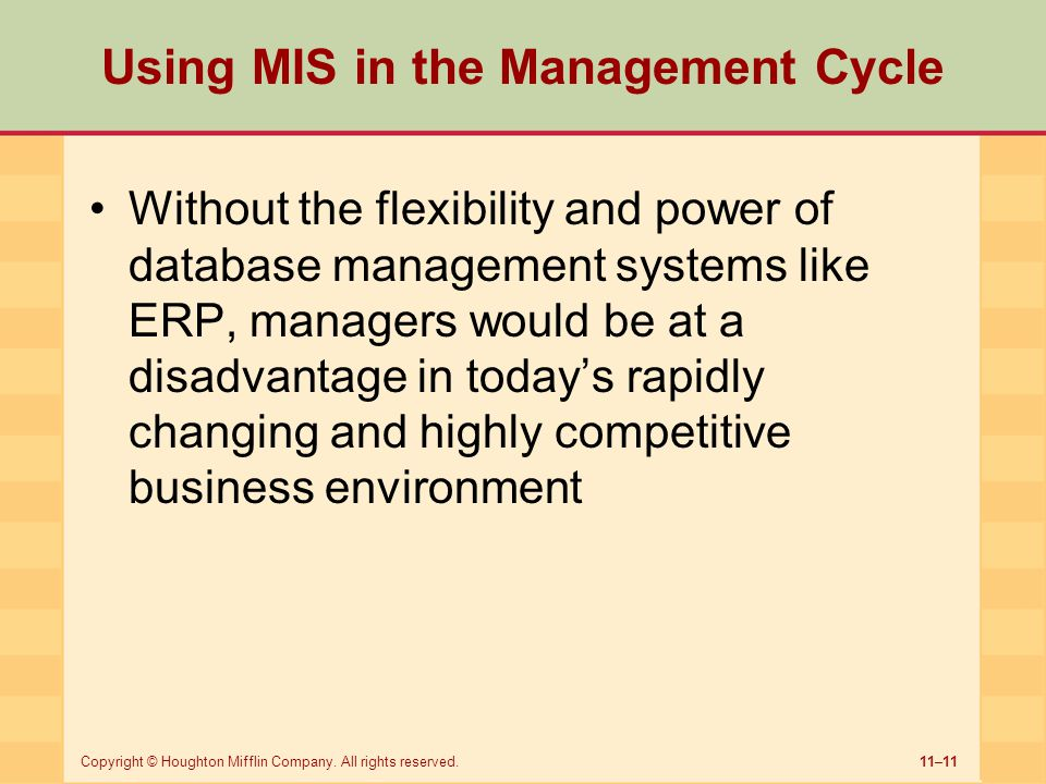 Using MIS in the Management Cycle
