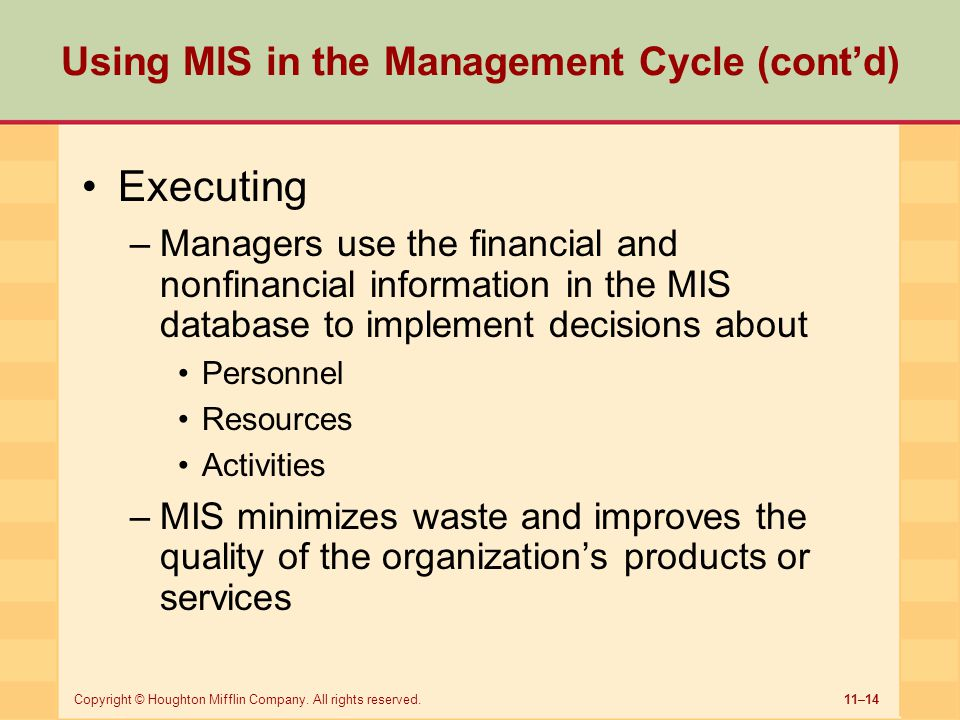 Using MIS in the Management Cycle (cont'd)