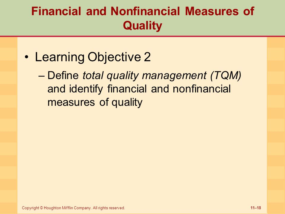 Financial and Nonfinancial Measures of Quality