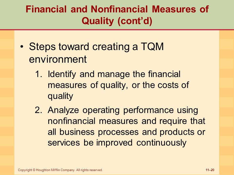 Financial and Nonfinancial Measures of Quality (cont'd)