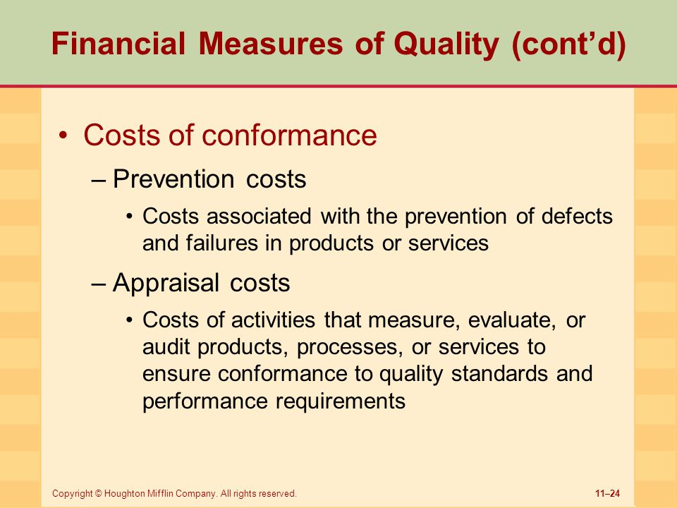 Financial Measures of Quality (cont'd)