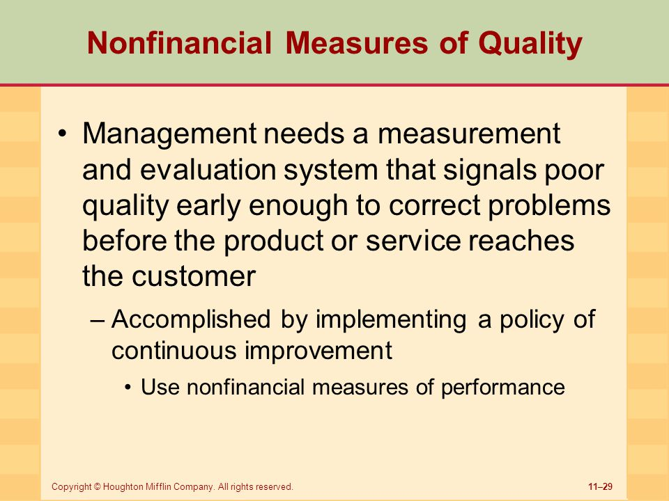 Nonfinancial Measures of Quality
