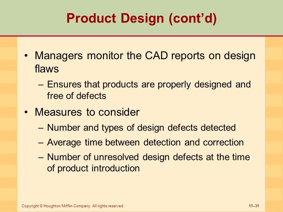 Product Design (cont'd)
