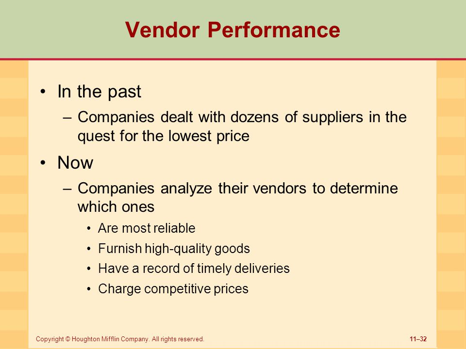 Vendor Performance In the past Now