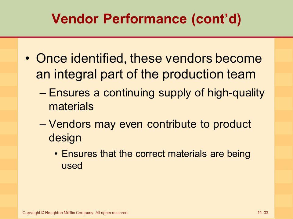 Vendor Performance (cont'd)