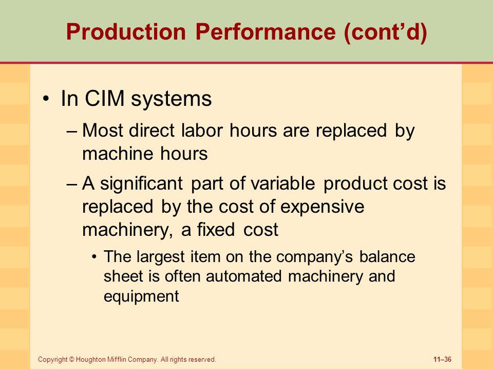 Production Performance (cont'd)