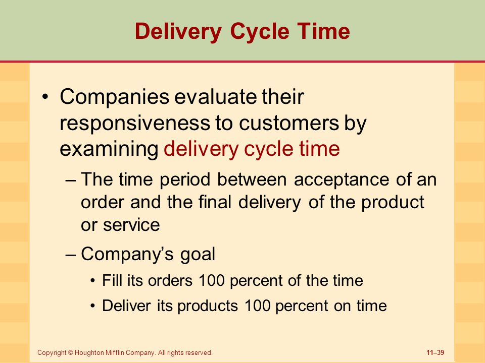 Delivery Cycle Time Companies evaluate their responsiveness to customers by examining delivery cycle time.