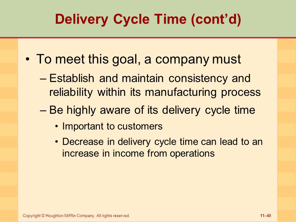 Delivery Cycle Time (cont'd)
