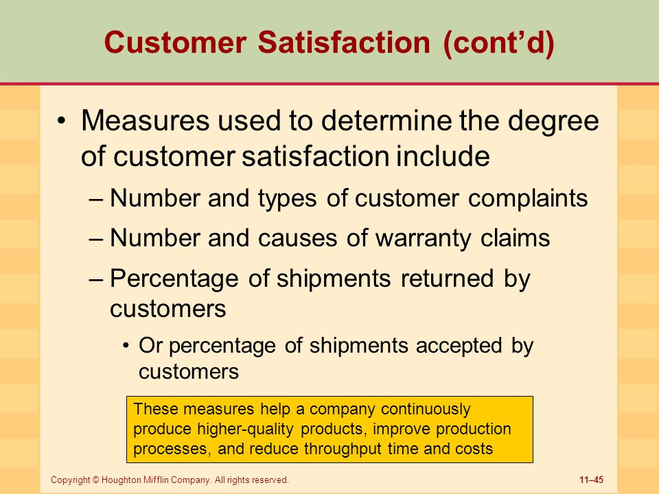Customer Satisfaction (cont'd)
