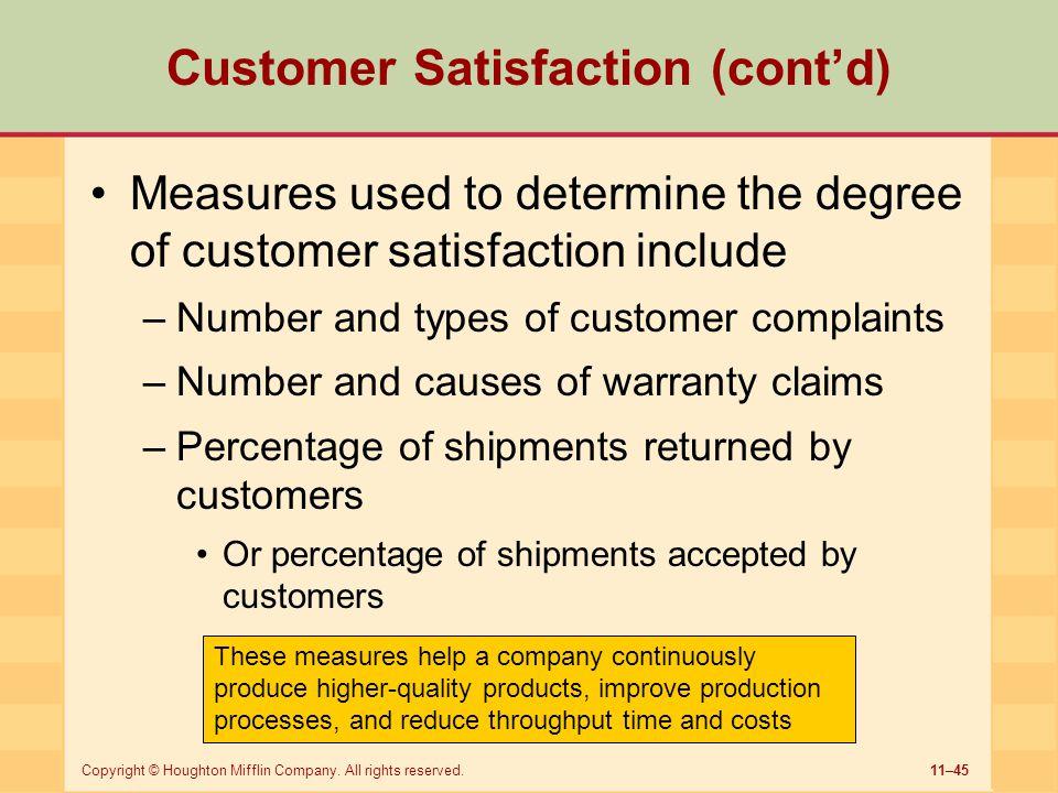 Customer Satisfaction (cont'd)