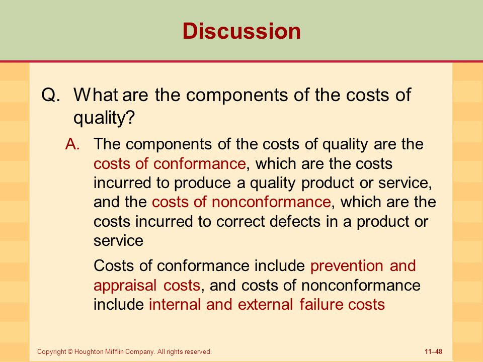 Discussion What are the components of the costs of quality