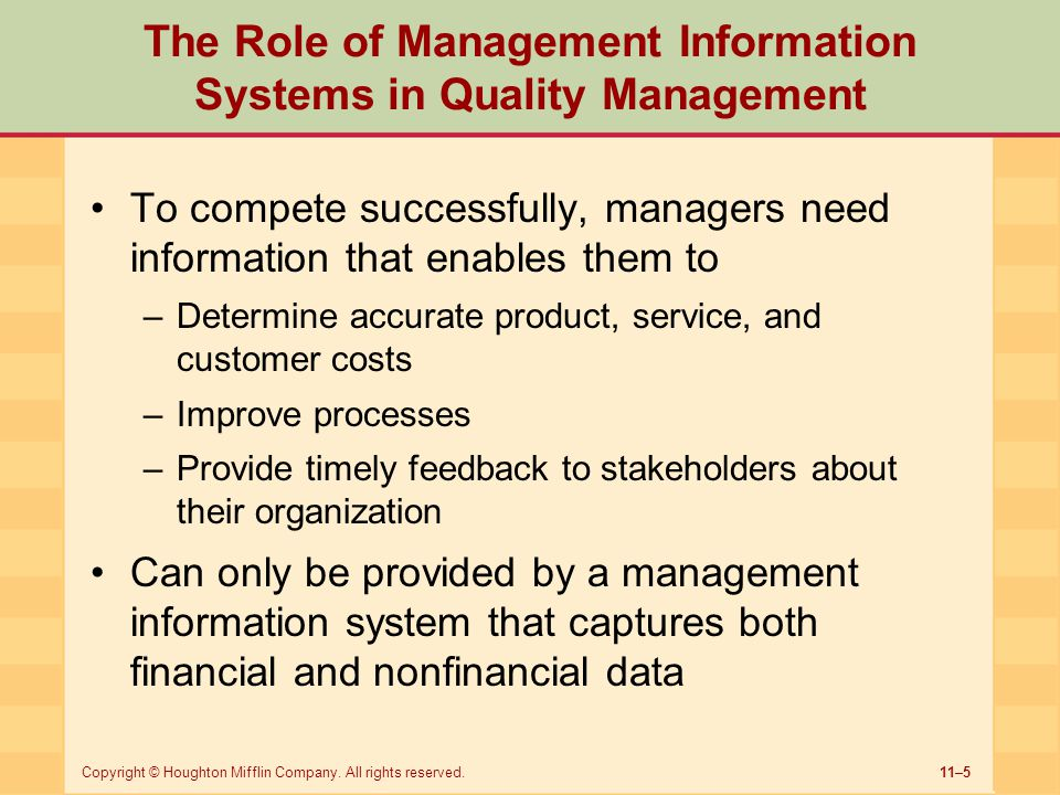 The Role of Management Information Systems in Quality Management