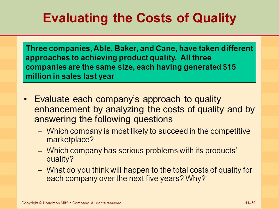 Evaluating the Costs of Quality