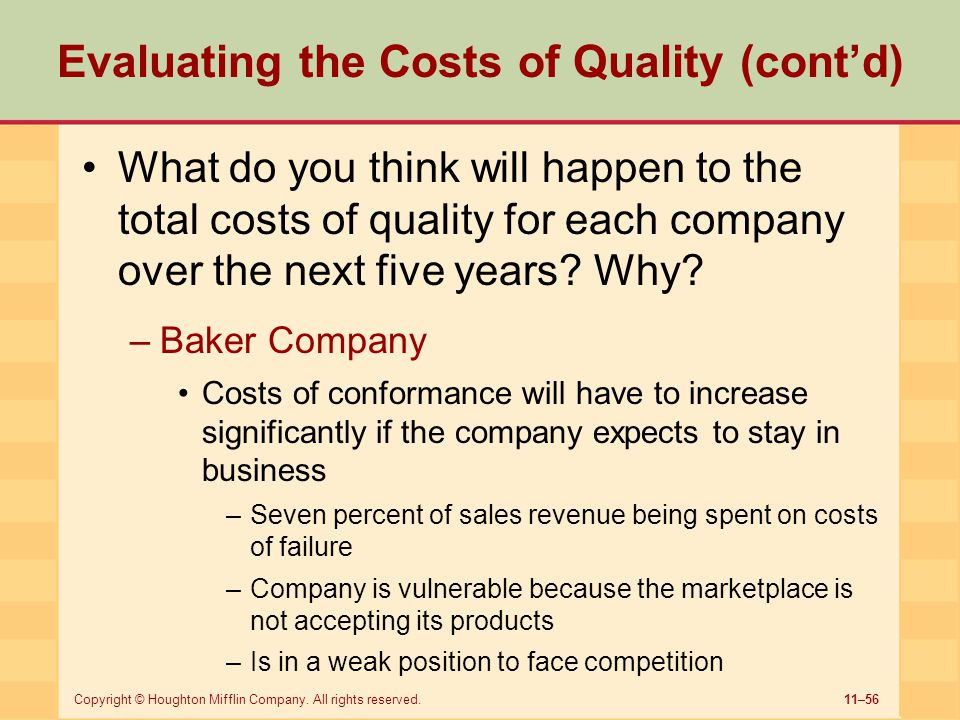 Evaluating the Costs of Quality (cont'd)