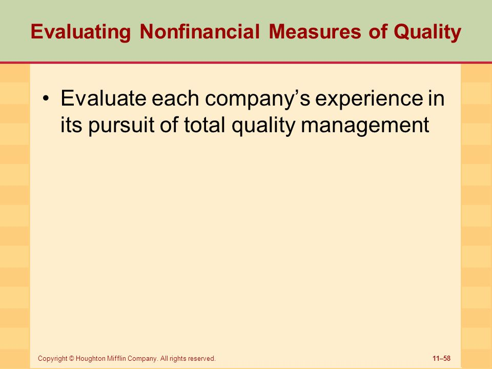 Evaluating Nonfinancial Measures of Quality