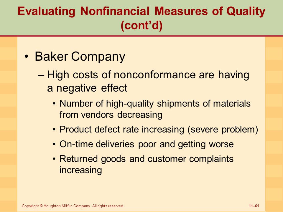 Evaluating Nonfinancial Measures of Quality (cont'd)