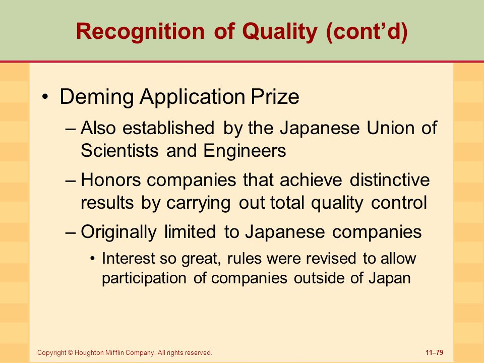 Recognition of Quality (cont'd)