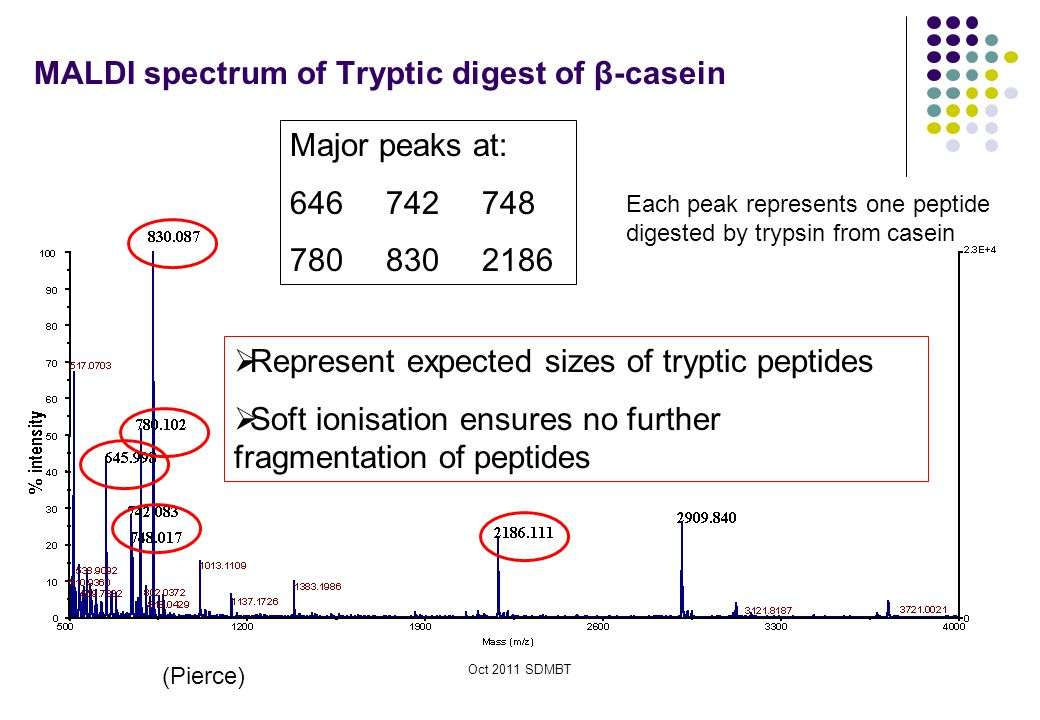 MALDI spectrum of Tryptic digest of β-casein