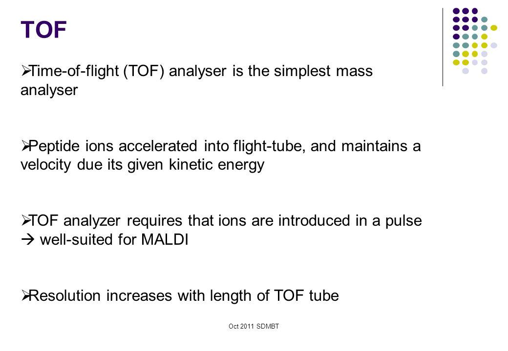 TOF Time-of-flight (TOF) analyser is the simplest mass analyser