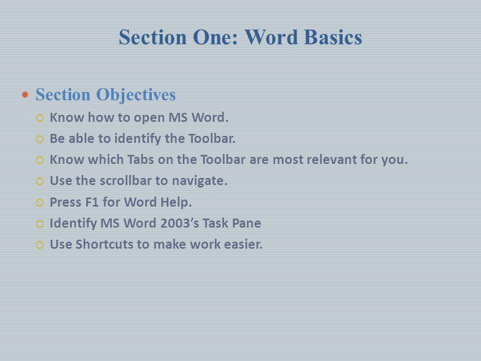 Section One: Word Basics
