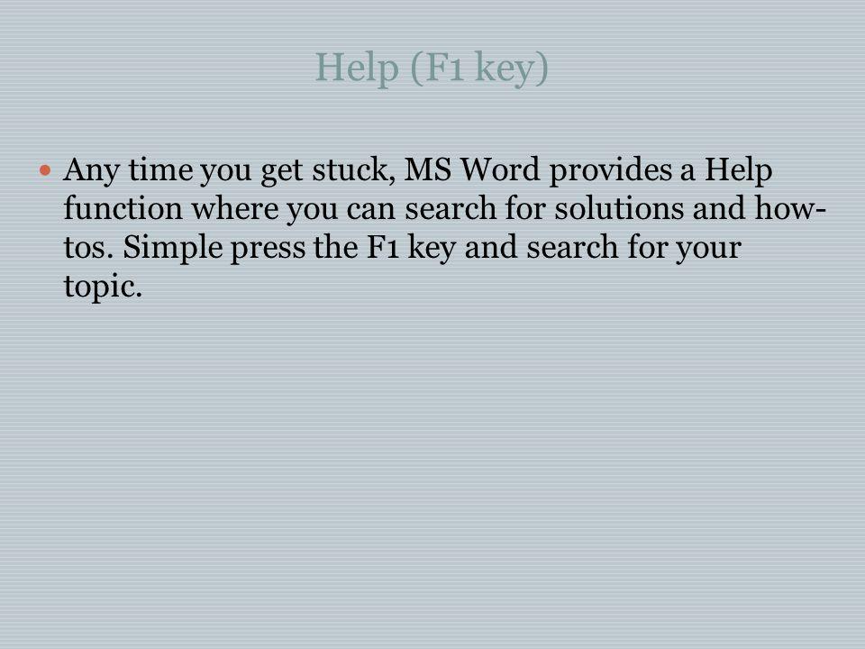 Help (F1 key)