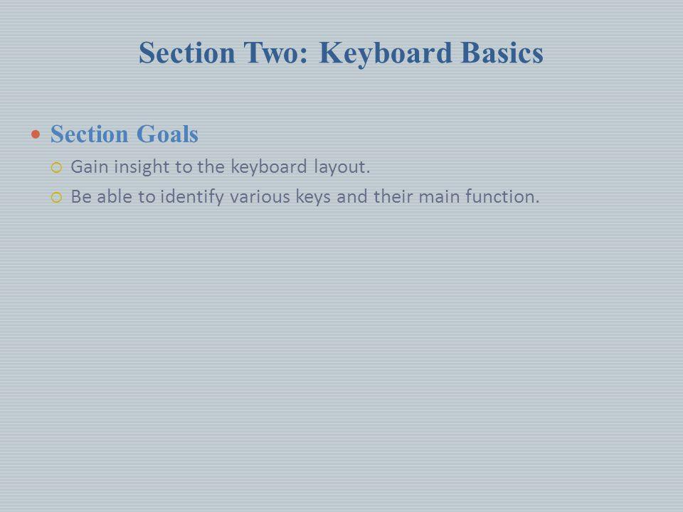 Section Two: Keyboard Basics