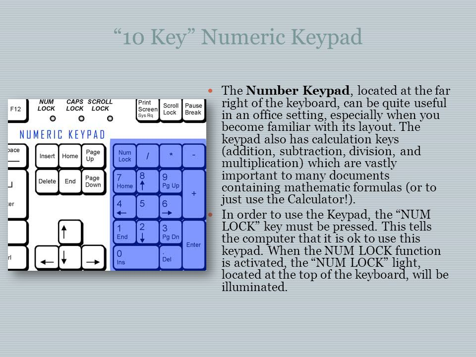 10 Key Numeric Keypad