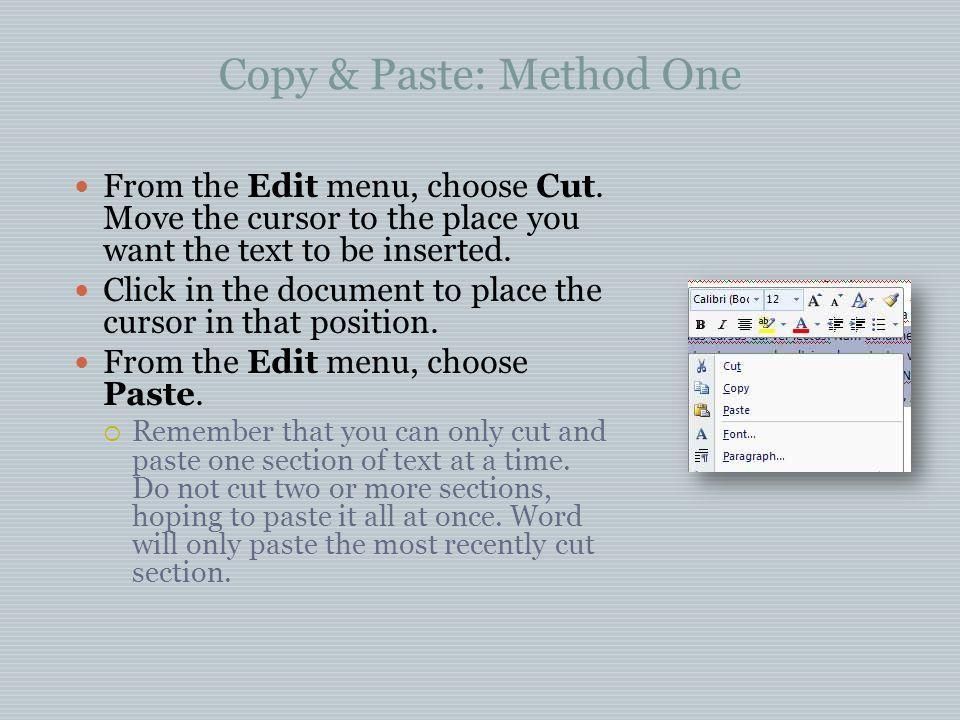 Copy & Paste: Method One