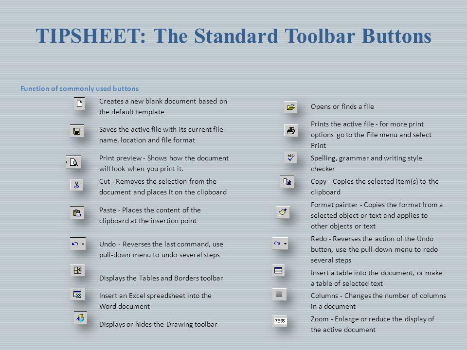 TIPSHEET: The Standard Toolbar Buttons