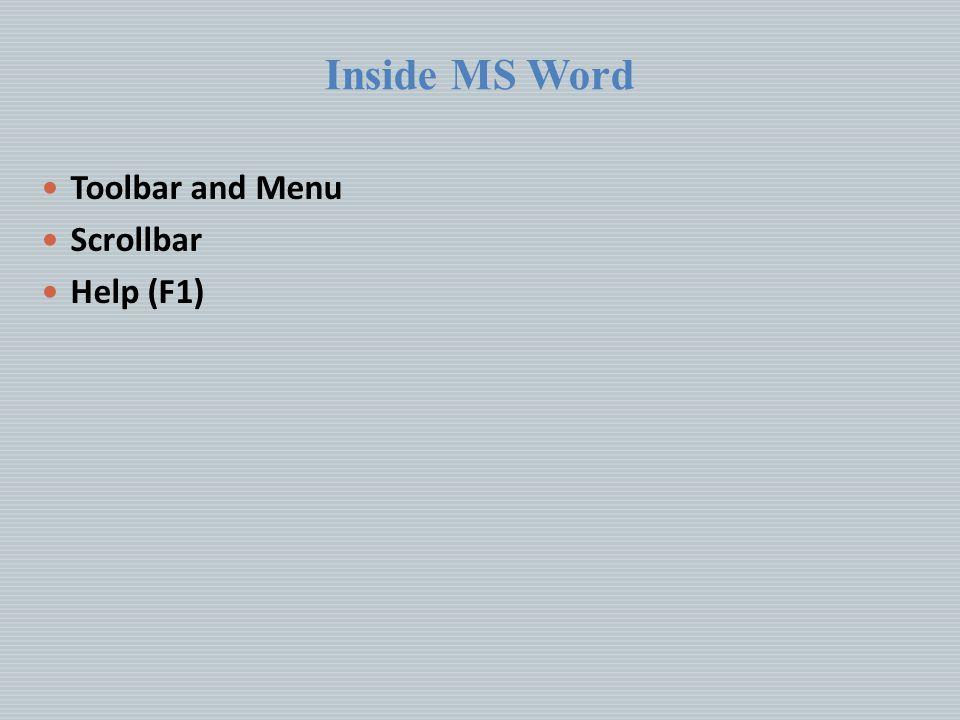 Inside MS Word Toolbar and Menu Scrollbar Help (F1)