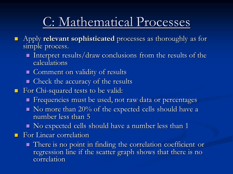 C: Mathematical Processes