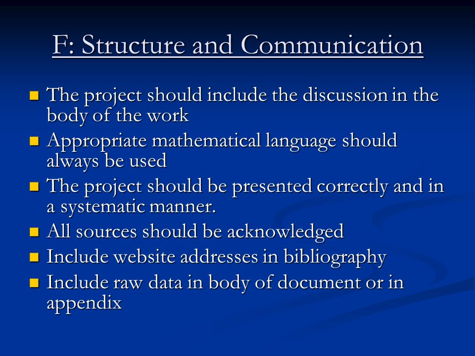 F: Structure and Communication