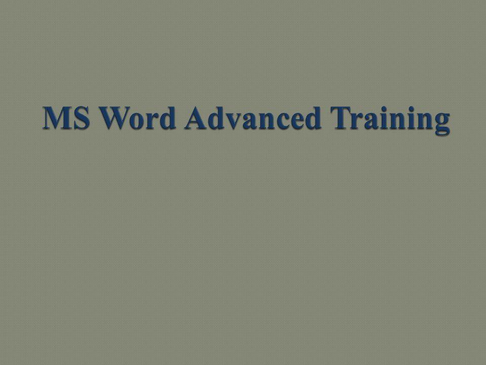 MS Word Advanced Training