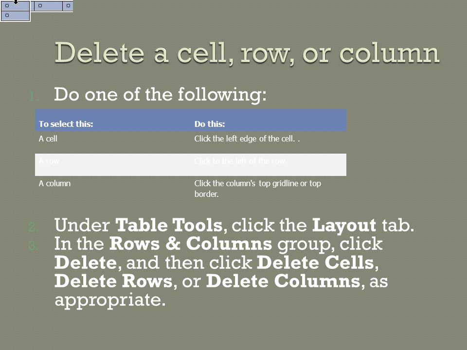 Delete a cell, row, or column