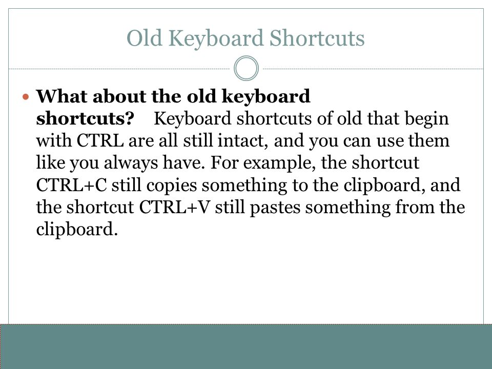 Old Keyboard Shortcuts
