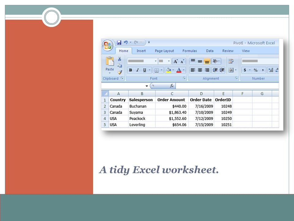 A tidy Excel worksheet.