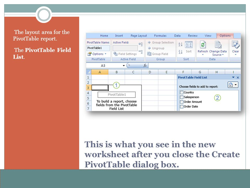 The layout area for the PivotTable report.