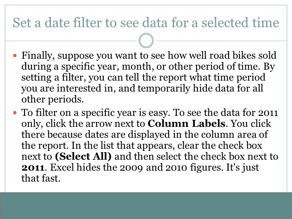 Set a date filter to see data for a selected time