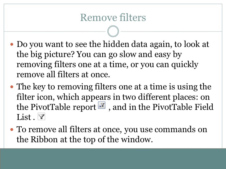 Remove filters