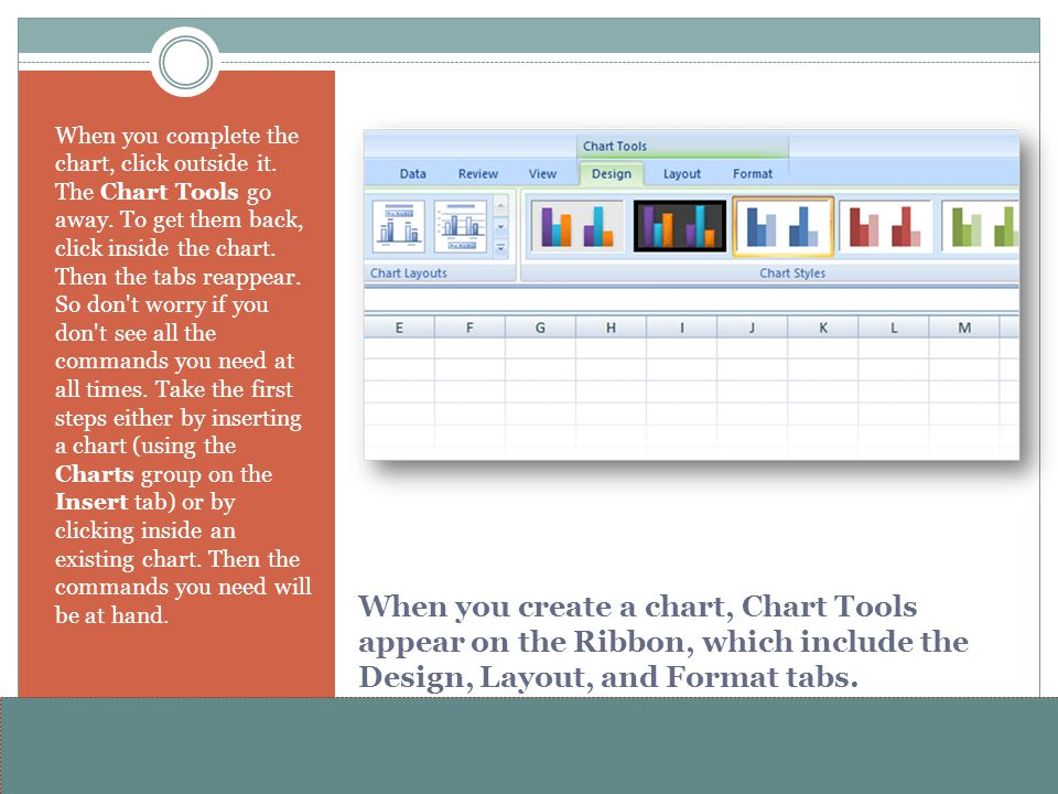 When you complete the chart, click outside it. The Chart Tools go away