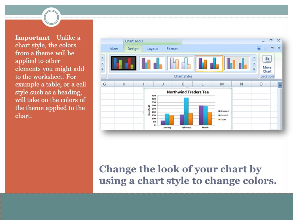 Change the look of your chart by using a chart style to change colors.